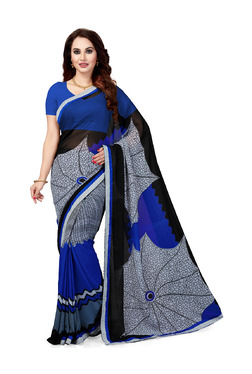 Ishin Blue Printed Saree With Blouse - Mp000000003804907