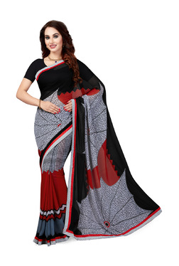 Ishin Grey & Red Printed Saree With Blouse