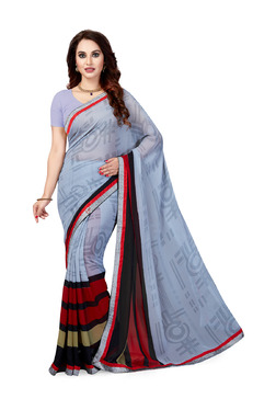 Ishin Grey & Red Printed Saree With Blouse - Mp000000003804916
