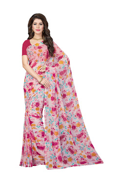 Ishin Pink Floral Print Saree With Blouse