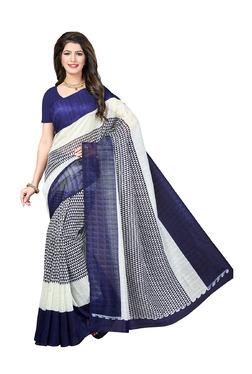 Ishin White & Navy Printed Saree With Blouse