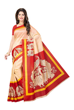 Ishin Beige & Red Printed Saree With Blouse