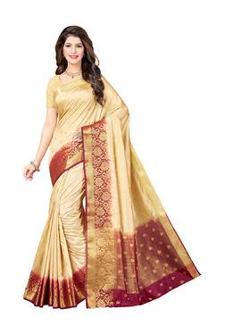 Ishin Beige Printed Saree With Blouse - Mp000000003804971