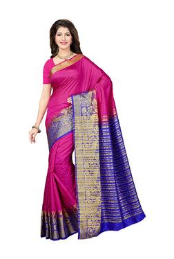 Ishin Pink Printed Saree With Blouse