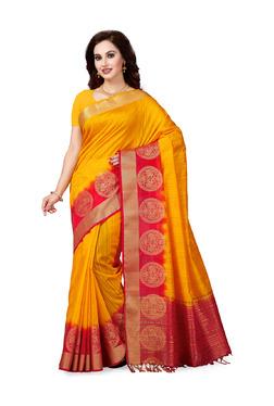 Ishin Mustard Yellow Printed Saree With Blouse - Mp000000003805053