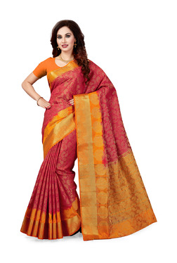 Ishin Red Printed Saree With Blouse - Mp000000003805059
