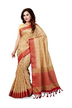 Ishin Beige Printed Saree With Blouse - Mp000000003805082