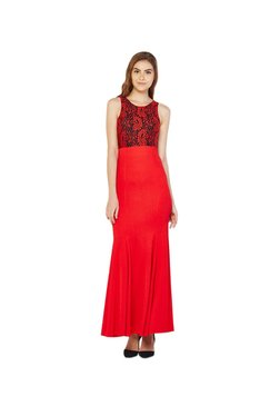 AND Red Lace Maxi Dress
