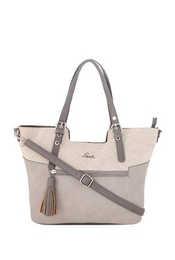 Lavie Grey & Beige Tassel Shoulder Bag