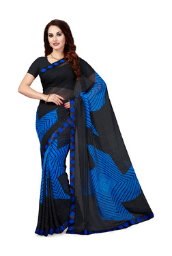 Ishin Black & Blue Printed Saree With Blouse