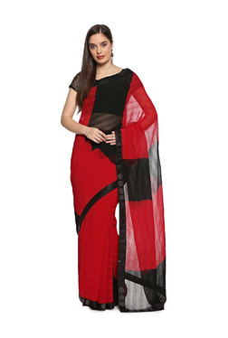 f252fd2fe57dc Soch Red   Black Printed Saree With Blouse
