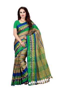 Ishin Beige & Green Striped Saree With Blouse