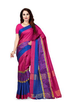 Ishin Pink & Blue Checks Saree With Blouse