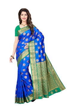 Ishin Royal Blue Printed Saree With Blouse