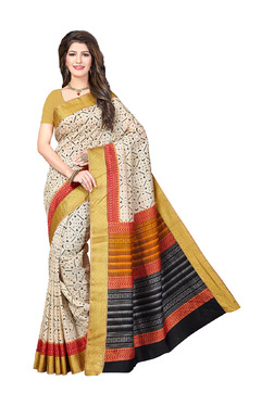 Ishin Beige Printed Saree With Blouse - Mp000000003805758
