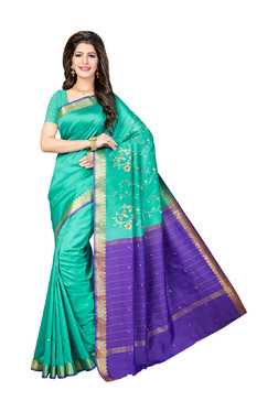 Ishin Teal Printed Saree With Blouse