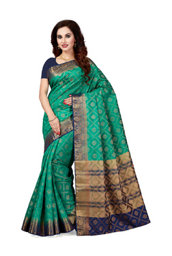 Ishin Teal Printed Saree With Blouse - Mp000000003805819