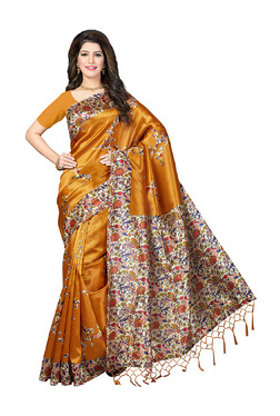 Ishin Mustard Yellow Printed Saree With Blouse