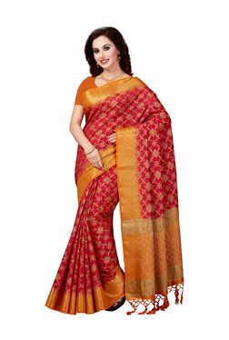 Ishin Red Printed Saree With Blouse - Mp000000003805864