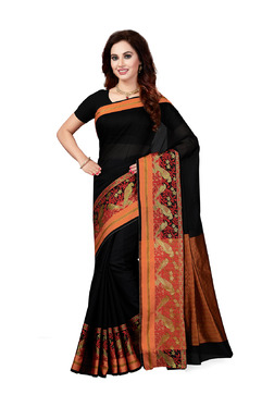 Ishin Black Printed Saree With Blouse - Mp000000003805875
