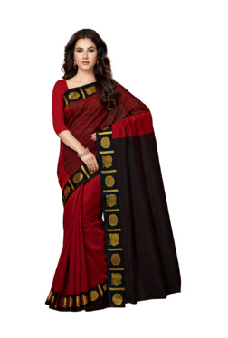 Ishin Red Textured Saree With Blouse