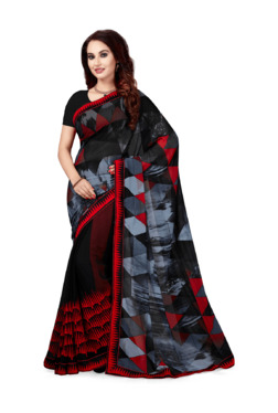 Ishin Black Printed Saree With Blouse