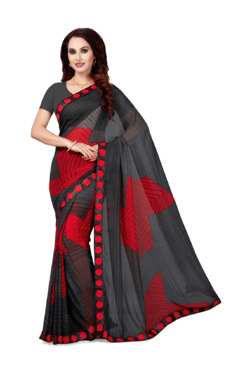 Ishin Black & Red Printed Saree With Blouse