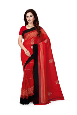 Ishin Red Printed Saree With Blouse - Mp000000003805933