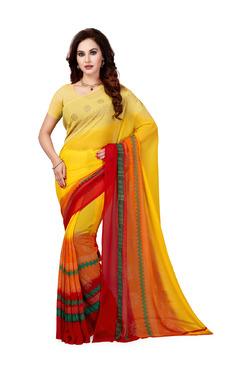 Ishin Yellow & Orange Printed Saree With Blouse