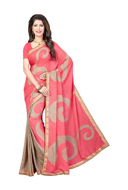 Ishin Pink & Beige Printed Saree With Blouse