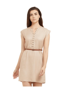 109 F Beige Cap Sleeves Above Knee Dress
