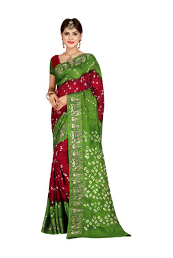 Aasvaa Maroon & Green Bandhani Print Saree With Blouse