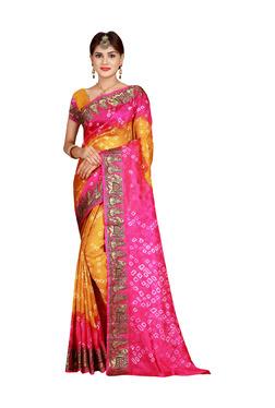 Aasvaa Yellow & Pink Bandhani Print Saree With Blouse