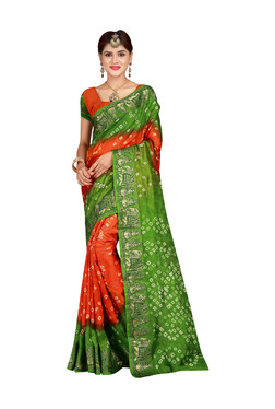 Aasvaa Orange & Green Bandhani Print Saree With Blouse