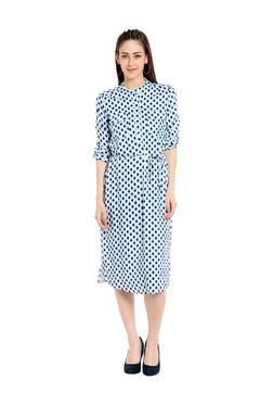 109 F Blue & White Printed Dress
