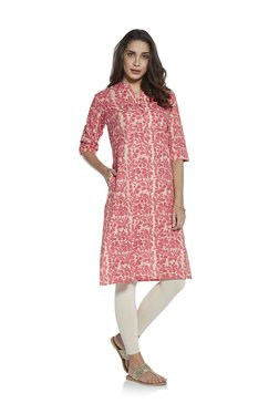 Utsa by Westside Pink A-Line Pure Cotton Floral Kurta 5f28dccc5
