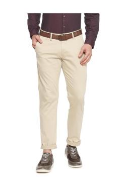 Allen Solly Beige Slim Fit Flat Front Trousers