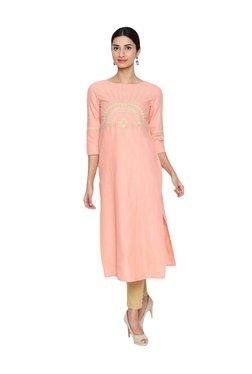 Naari Baby Pink Cotton Embroidered Kurti