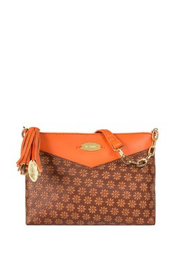 St.Holii By Holii Cherry 02 Brown & Tan Embossed Sling Bag