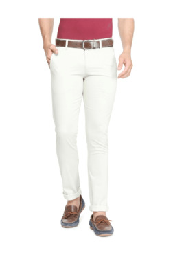 Allen Solly White Slim Fit Flat Front Trousers