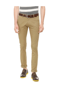 Allen Solly Khaki Slim Fit Flat Front Trousers
