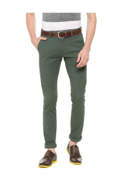 Allen Solly Green Slim Fit Flat Front Trousers