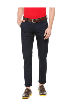 Allen Solly Navy Slim Fit Flat Front Trousers