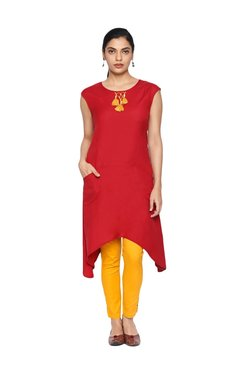 Naari Red Sleeveless Kurti