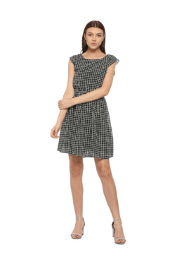 Solly By Allen Solly Black Checks Above Knee Dress