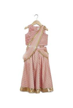 9837ff36080 Utsa Kids by Westside Peach Floral Ghagra Choli Set