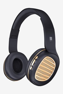iBall Decibel BT01 Over The Ear Bluetooth Headphone with Mic (Black/Gold)