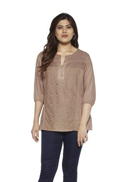 d1b8c8ec5fa8f Gia Curve by Westside Taupe Blaze Crochet Blouse
