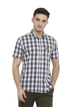 Red Tape Olive & White Half Sleeves Checks Shirt