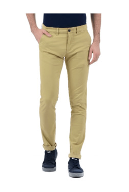 Pepe Jeans Beige Slim Fit Flat Front Trousers